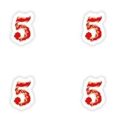 Assembly stickers fiery font red number 5 on white vector