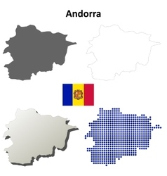 Andorra outline map set vector