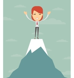 Man on top of the world vector