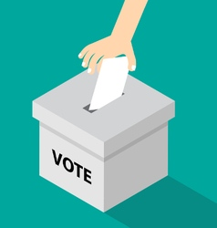 voting flat style - hand putting voti vector image