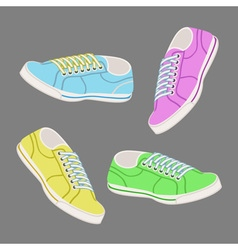 Colored trainers with laces vector