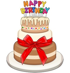 Three floors happy birthday cake vector