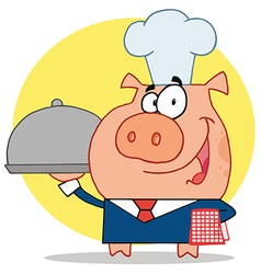 Nice Waiter Pig In A Chefs Hat vector image