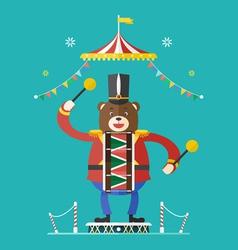 Bear drummer circus theme vector
