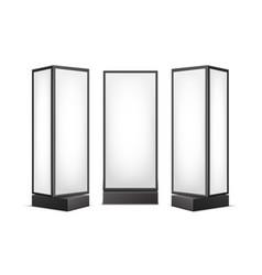Black white luminous pillars for advertising vector