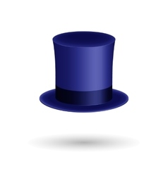 Blue gentleman hat cylinder with silk ribbon vector
