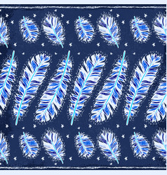 blue vintage feather indian seamless pattern vector image vector image