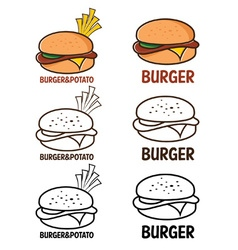 burger and fries vector image