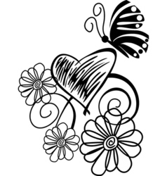 butterflies flowers vector image