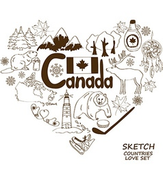 Canadian symbols in heart shape concept vector