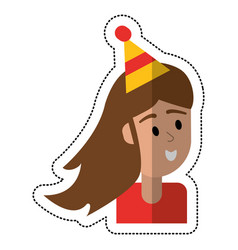 Cartoon girl smile celebration hat party vector