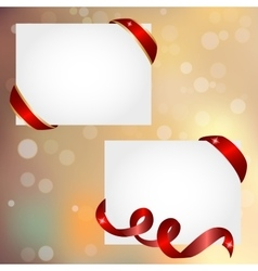 Christmas banner with red ribbon vector