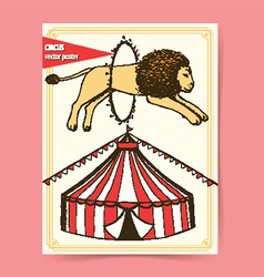 Circus tent card design vector