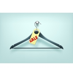 Clothes black plastic hanger with sale tag label vector