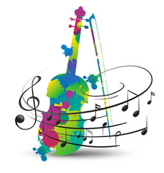 Colorful violin and music notes on white vector