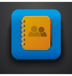 Contact symbol icon on blue vector