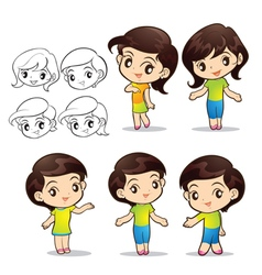 Cute girls character vector