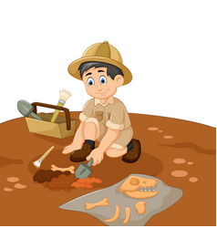 Cute man archaeologists cartoon searching fossil vector