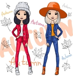 fashion girls in autumn clothes vector image vector image