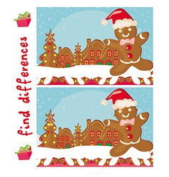 Find differences - gingerbread santa vector