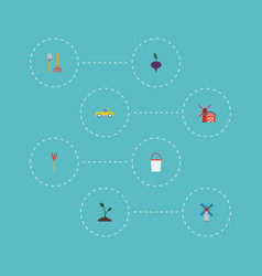 Flat icons sprout windmill pail and other vector