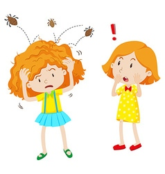 Girl with head lice jumping in her head vector