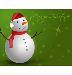 Green background with snowman vector image