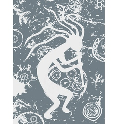 Grunge kokopelli tribal symbol fertility deity vector