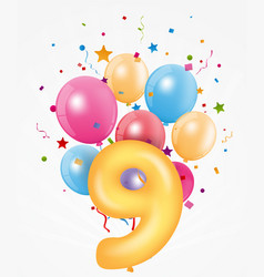 Happy birthday balloon with number vector