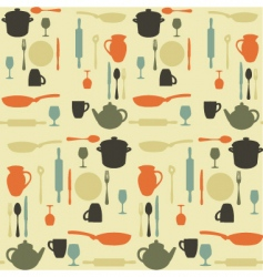 kitchen pattern vector image vector image