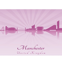 Manchester skyline in purple radiant orchid vector