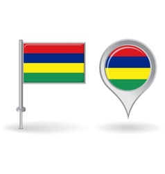 Mauritius pin icon and map pointer flag vector