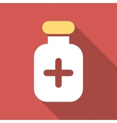 Medication vial flat square icon with long shadow vector