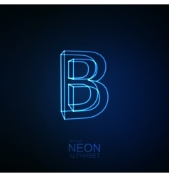 Neon 3D letter B vector image vector image