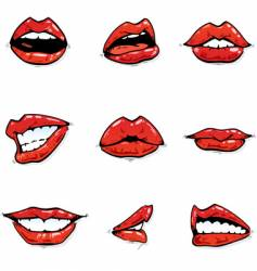 red lips vector image