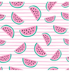 Seamless pattern with bright watermelons vector