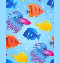seamless texture with sea tropical fish and vector image vector image