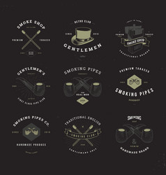 smoking pipes logo set invert vector image