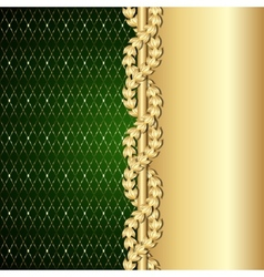 Vintage gold and green background with laurel vector image