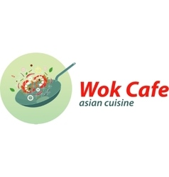 Wok cafe logo template asian wok cuisine vector