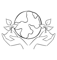World with tree hand draw doodles vector