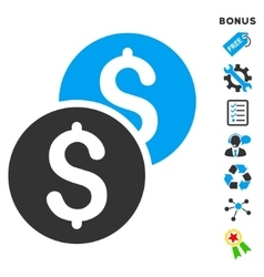 Coins flat icon with bonus vector