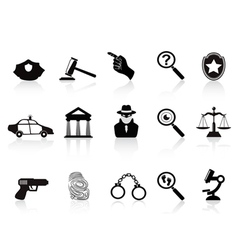 Law and crime icons set vector