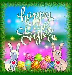 Easter eggs and a rabbits on a green lawn with vector
