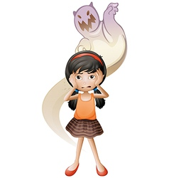 A scared child with a ghost at her back vector