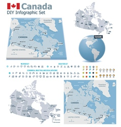 Canada maps with markers vector