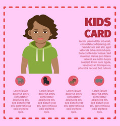 kids card infographic with young boy vector image
