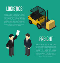 Freight logistics isometric banner with people vector