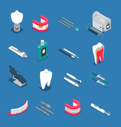 Stomatology isometric colored icons vector