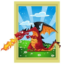 Dragon on the fairytale landscape vector
